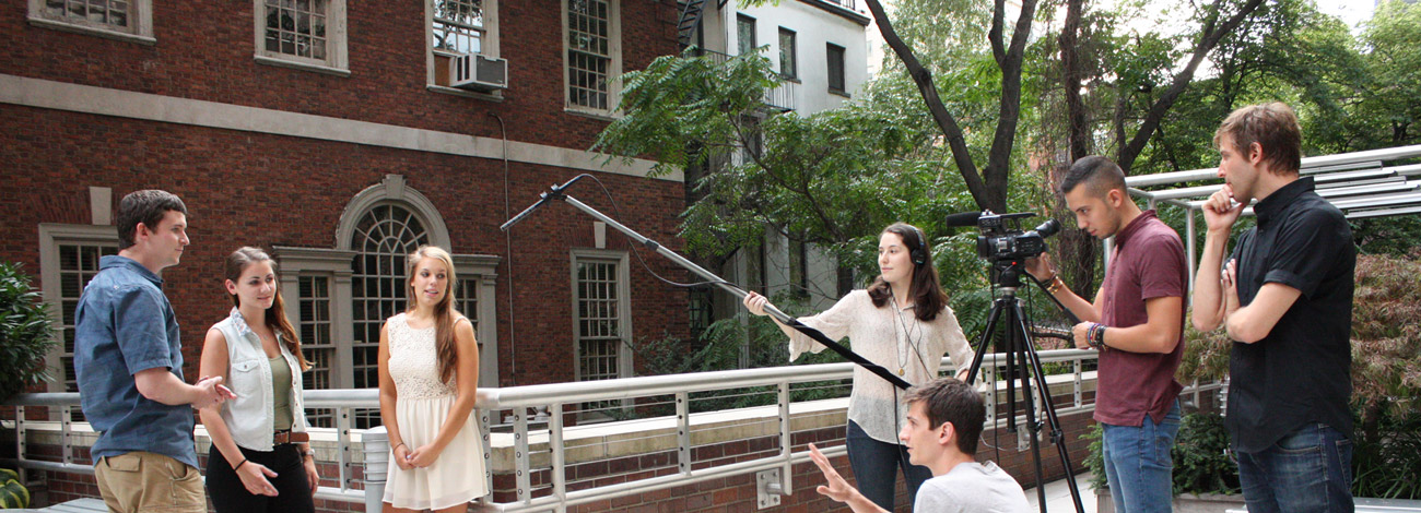Students conduct a video shoot in New York City