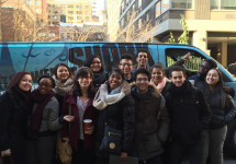 Students Boarding Shark Tank Bus to head to CNBC Tour