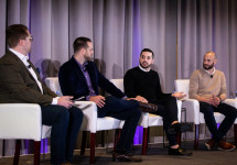 Joey Goulart '12 (third from left) at the Forbes Global Sales Summit, January 2020