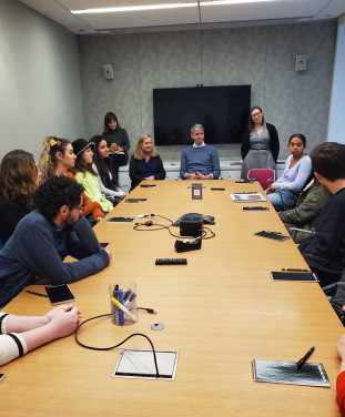 MMC journalism students meet with Wall Street Journal reporter Joe Palazzolo during their tour in...
