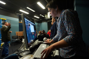 Students in the digital media studio