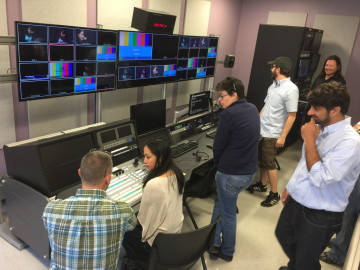 State of the art control room, digital television studio.