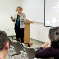 Prof. Ann Aguanno presents at Mount Saint Mary College.