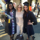 Alice Trye (left) and Victoria McIlrath (right) celebrate their 2015 graduation with their research mentor, Prof. Ann Agua...
