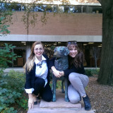 Marisa (left) and Katie (right) pose with the UMBC mascot.