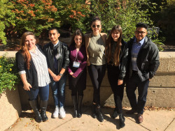 Biology majors at the Undergraduate Research Symposium in the Chemical and Biological Sciences at the University of Maryland-Baltimore County. From left to right, Lauren Herndon, Kevin Mora, Emma Kamen, Taylor Allen, Rosie Wenrich, and Elevit Perez.