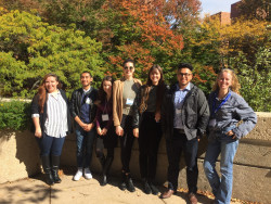 Biology majors with Prof. Alessandra Leri at the Undergraduate Research Symposium in the Chemical and Biological Sciences ...