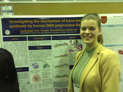 Taylor Allen presents her work with Prof. Sampoli at the Undergraduate Research Symposium in the Chemical and Biological Sciences at the University of Maryland-Baltimore County.