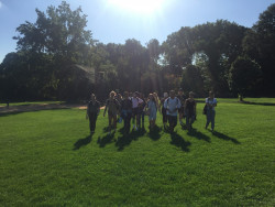 NYC 103 students traverse the Great Lawn in Central Park, where two giant reservoirs served the city's thirst for water from 1842 to 1931.