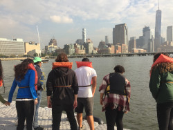 NYC 103 students test water quality on the Hudson River.