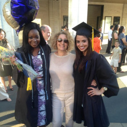 Alice Trye (left) and Victoria McIlrath (right) celebrate their 2015 graduation with their resear...