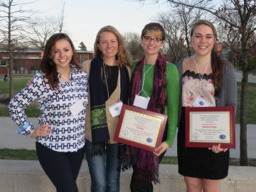Leri Research Group 2013-14. Left to right: Marisa Dunigan, Alessandra Leri, Iris Platt, Katie Ness.