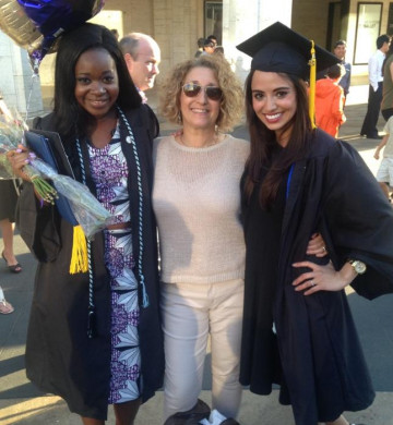 Alice Trye (left) and Victoria McIlrath (right) celebrate their 2015 graduation with their research mentor, Prof. Ann Aguanno.