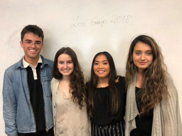 Leri Research Group 2018. From left to right: Coleman Spence, Emma Kamen, Ashley Pavia, Marjan Khan.