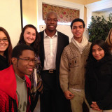 Hakeem Rahim (center) with MMC students after his Conversation on Diversity Talk