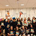 Students in Dr. Nava Silton's Psychology and NYC Seminar courses pose for a photo at Sesame Workshop