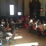 MMC students at the Jefferson Market branch of the NYPL.
