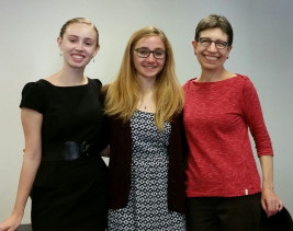 Rachel Nevins '19, Petya Gorgiev '17, and professor Sue Behrens