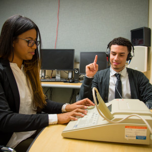 Students conduct hearing exam