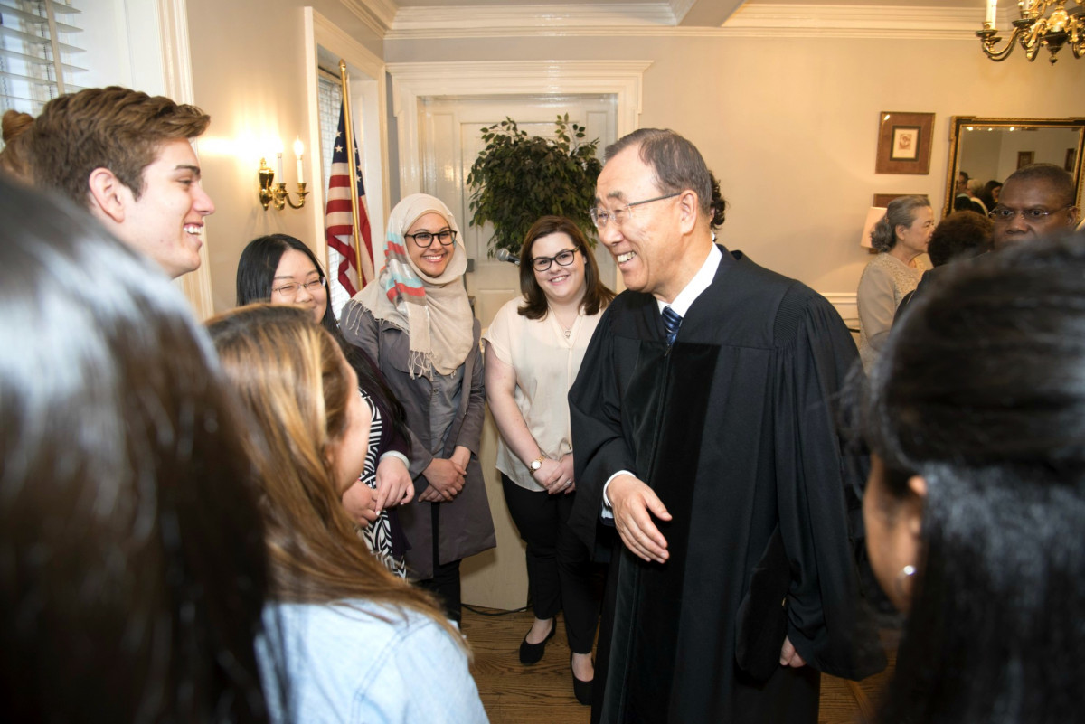 UN Secretary General Ban Ki Moon speaks with students at Marymount Manhattan College.