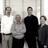 From left: Professor Ellen Houston, Dr. Andreas Hernandez, Professor Amit Bhattacharyya, Mr. Michael Heller Chu, and Presi...