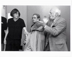 Hal Prince and Patricia Birch congratulate Pat Simon for her work directing The Human Comedy