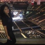 Sindelt Flores,intern for the Spanish Broadcasting system at an event in Madison Square Garden.
