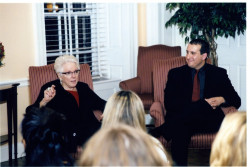 Rudin Lecturer Linda Nochlin speaks with students prior to the November 1, 2004 lecture.  With Art History professor Jason Rosenfeld.