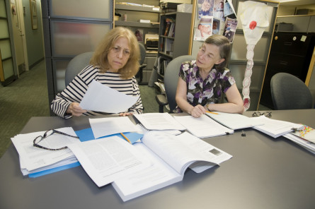 Professors Ann Jablon (CSD) and Linda Solomon (Psychology) work on an interdisciplinary research project