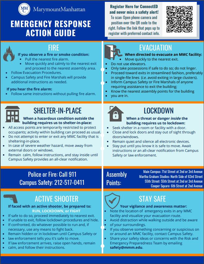 Review what actions to take in an emergency situation.