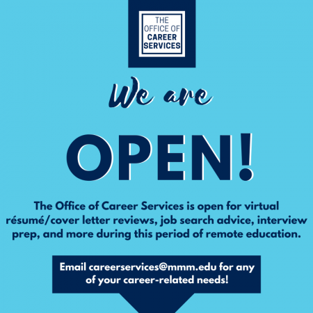 Career Services is open for virtual appointments for resume and cover letter reviews, job search ...