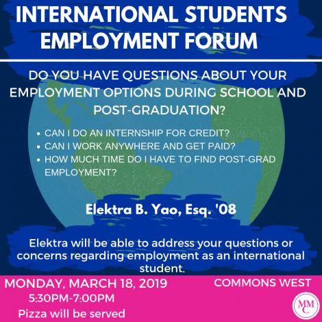 International Student Employment Forum: Career Services