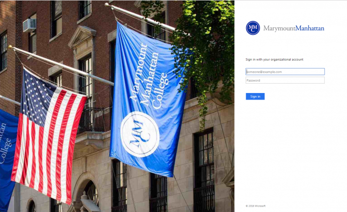 MMC Login Page with picture of 71st street building, American flag and MMC Flag, and Login Portal...