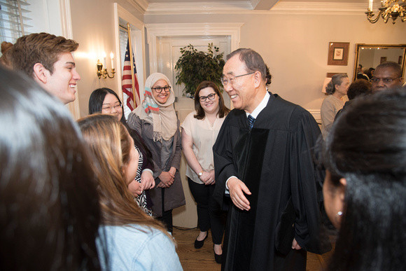 UN Secretary-General Ban Ki-moon greets students before receiving an honorary doctorate from MMC