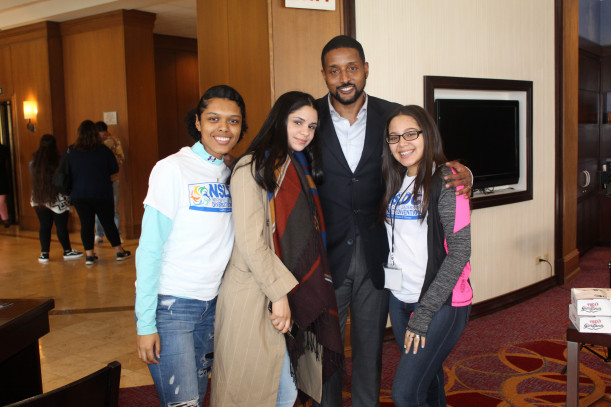 MMC's students grab a photo with convention presenter fan-favorite, Rasheed Ali Cromwell, Esq...