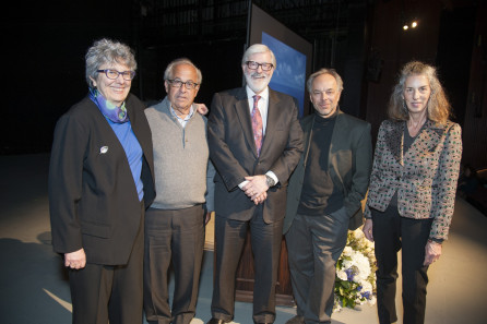 Lisa Feiner, Richard S. Berry, and Lucy A. Commoner, the benefactors of the Barry Commoner Lecture for the Environment, with Former President Judson R. Shaver and Commoner Lecture speaker Carl Safina