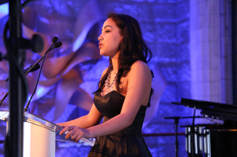 Scholarship recipient Mariella Sanchez thanking donors at the 2015 President's Medal Dinner, MMC's Annual Scholarship Fundraising Event