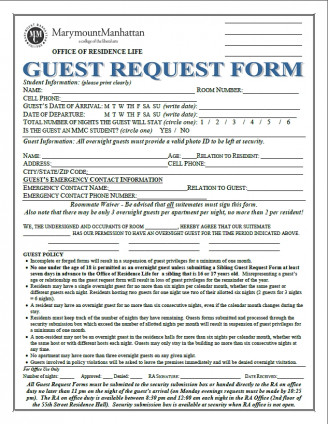 55th Street Guest Request Form