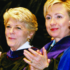 Geraldine Ferraro '56, H'82 and Hillary Clinton H'05, on the day MMC awarded Clinton an honorary degree in 2005.