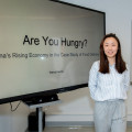 "Wenqi Huang '20 before her presentation, ""Are You Hungry? The Role of Food in China"