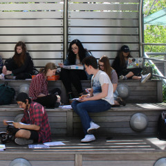MMC students study on the Lowerre Family Terrace