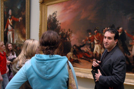Professor of Art History Jason Rosenfeld teaching class at the Metropolitan Museum of Art