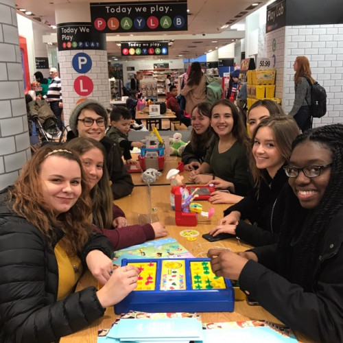 NYC Seminar students interact in the PlayLab at Toys R Us