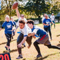A rowdy game of flag football highlighted the annual Family and Friends Homecoming Weekend