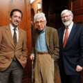 (L-R) Andrew C. Revkin, Barry Commoner and President Judson R. Shaver, Ph.D.