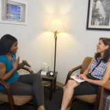 A student meets with Suzanne Sorrentino, LCSW, in the Counseling and Wellness Center