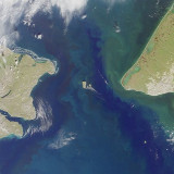 Satellite photograph of the Bering Strait.