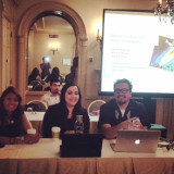 Left to right: Mariely Mena, Honory Peña, Edwin Mayorga, BarrioEd Research Project Team, Latina/o Studies Conference, Chi...