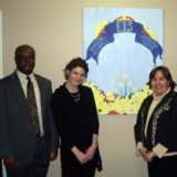 (L-R) MMC Assistant Professor of Communication Arts Anthony Naaeke, Ph.D.; Kristen Pesature '09; Audrey B. Tannen, execu...