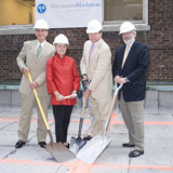 (L-R) Vice President of Administration and Finance Paul Ciraulo, Ursula Lowerre, Paul Lowerre '81 and President Judson S...